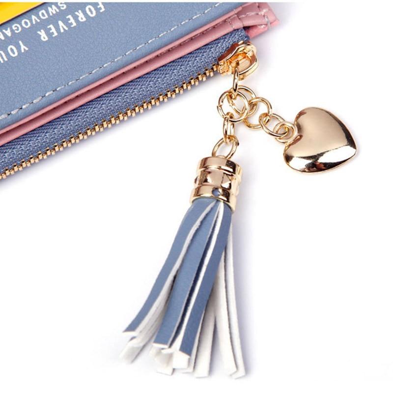 Leather Small Wallet Women Mini Women Wallets Purses Female Short Coin Zipper Purse Holder Tassel Zipper Button Bag (9)