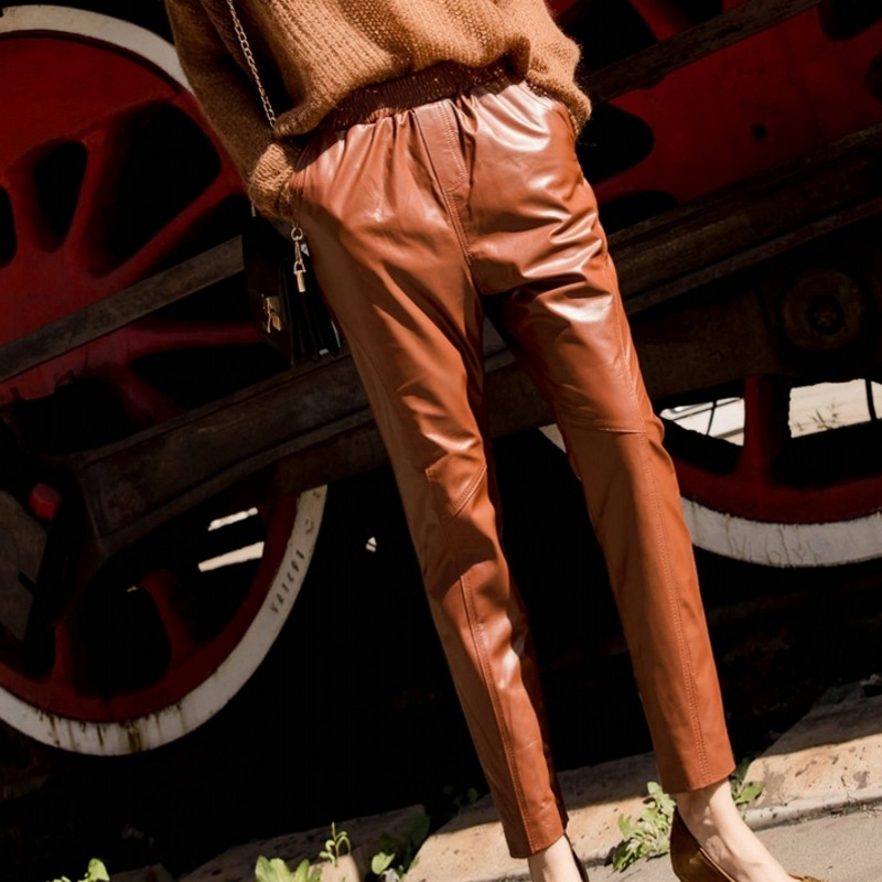 Cintura Longitud Elástica De purple Pantalones Cuero Las Tobillo Piel brown Lujo Mujeres Dama Lápiz Oveja Tamaño Gran Genuino Black Nuevos PH5qw6Owx