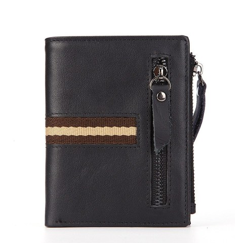 2019 Brand Men Wallets Genuine Cow Leather Card Holder Vintage Design Wallet Male Leather Small Zipper with Coin Pocket Wallet Karachi