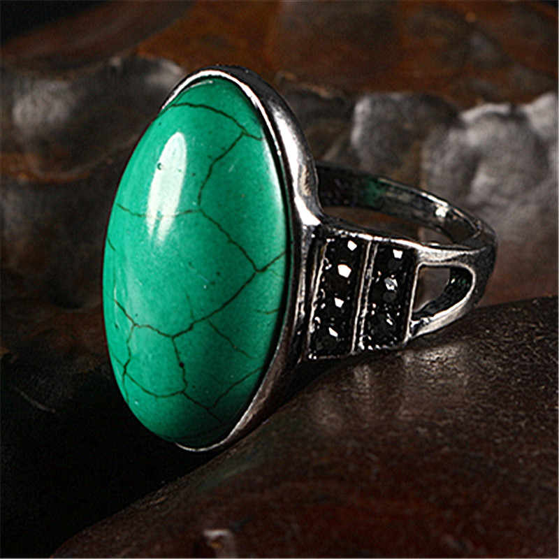 ใหม่ Vintage สีเขียว Malachite Glamour Lady แหวน Dominineering แนวโน้มผู้หญิงเครื่องประดับอุปกรณ์เสริมของขวัญครบรอบ 2018