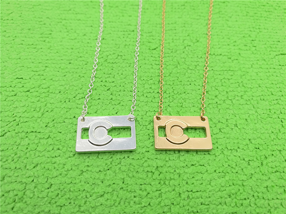 Simple Colorado Flag Necklaces America USA CO State City Flag Pendant Chain Necklaces for Minimalist Souvenir Gift image