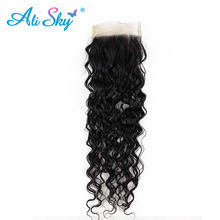 Ali Sky Peruvian Virgin Deep Curly Closure 4×4 Free Part Unprocessed Human Hair Weaving Swiss Lace Medium Brown Can Be Dyed