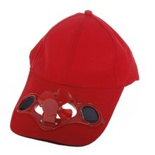 JHO-Red Solar Powered Air Fan Cooled Baseball Hat Camping Traveling