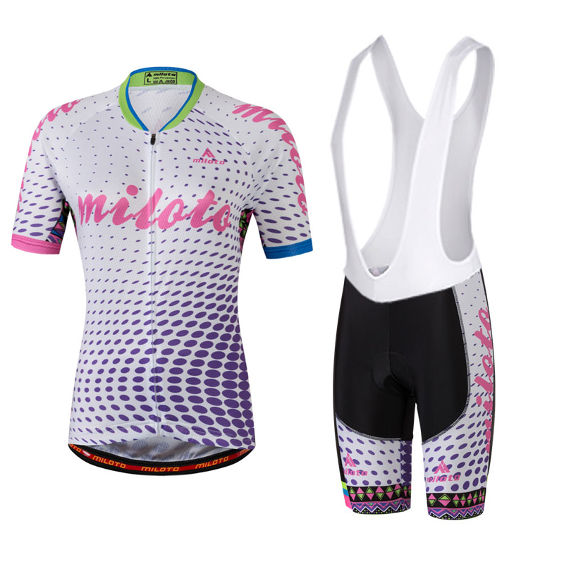 MILOTO Women Team Comfortable Cycling Short Sleeve Jersey Kit Bike Bib Shorts Set Bicycle Clothing