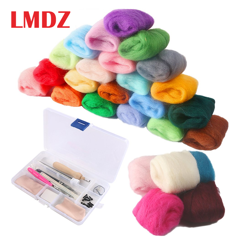 LMDZ Needle Felting Starter Kit Set Felt Tools With 36 Colors Wool Felting Supplies Fibre Wool Yarn Roving For Hand Spinning DIY