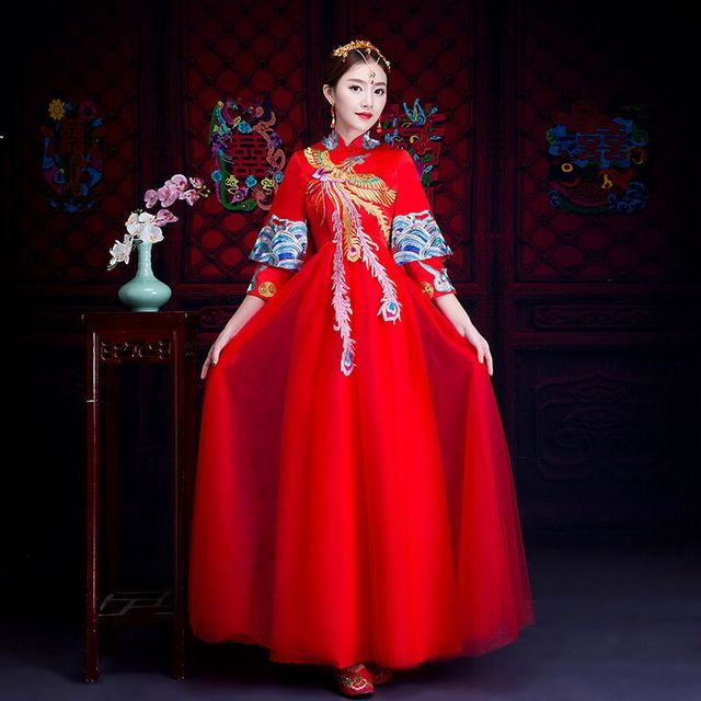 Oriental Asian Bride Beauty Chinese Traditional Wedding Dress Women