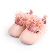 цены Shallow Flower PU Leather Beautiful Princess Shoes Elastic Band Anti-slip Soft Sole Baby Girl Shoes First Walkers Wholesale