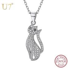 U7 elegante gatito sentado gato COLLAR COLGANTE de circonia cúbica cadena gargantilla 925 joyería de plata esterlina para mujeres niñas SC251