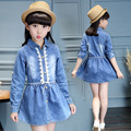 2017 Spring and Autumn Fashion Classic Children's Denim Dress Girls 4-13 Years Old Pure Blue Lace Doll Collar Wild Shirt Dress
