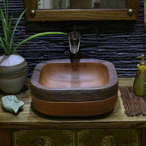 Handmade Primitive Style Stone Like Porcelain Countertop Lavabo Bathroom Sink China Mainland