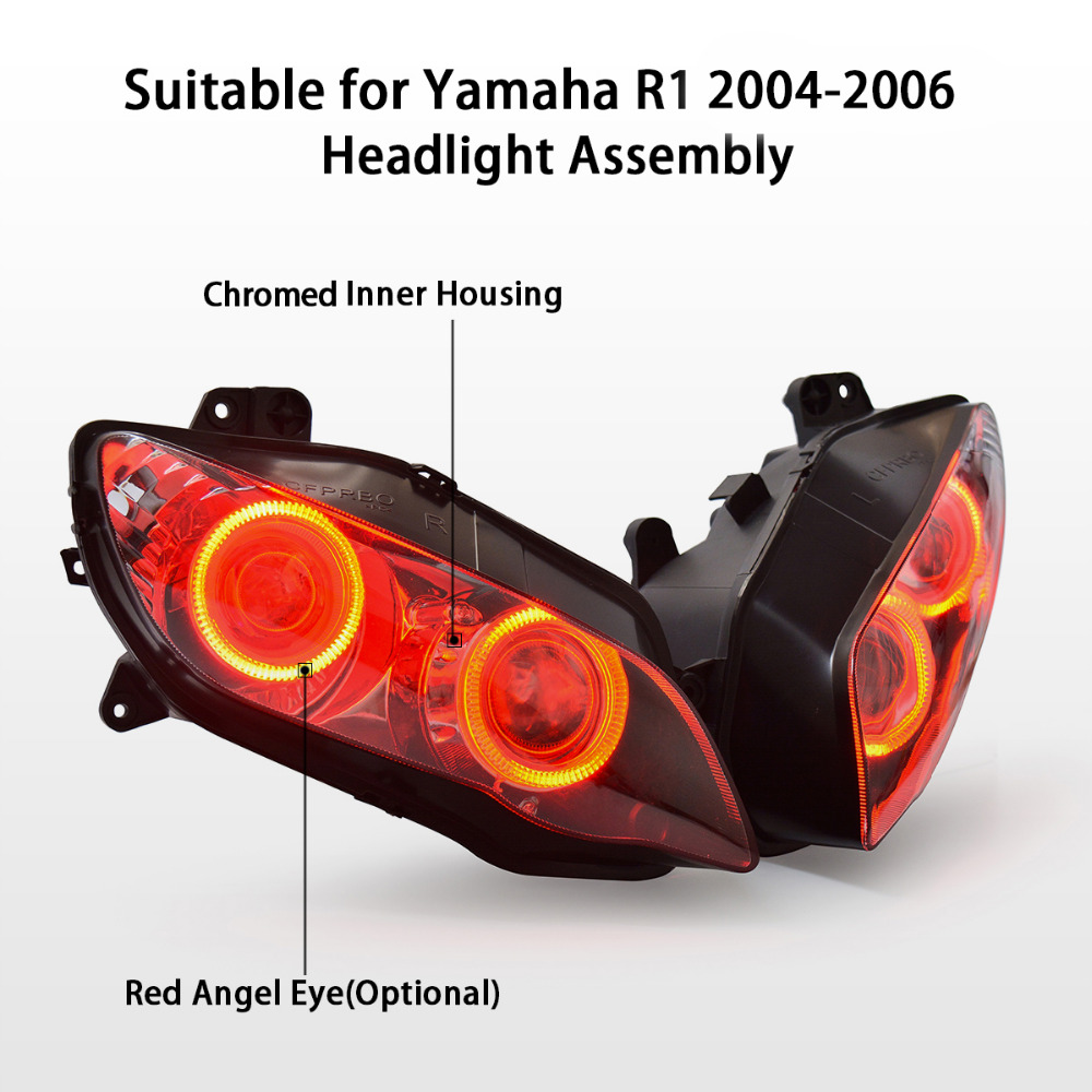 Hid Bi Xenon Motorcycle Projector Yamaha R1 04 Wiring Diagram 61 Kt Headlight For Yzf 2004 2006 Led Angel Halo Eye Red Assembly 2005 On Aliexpress Com Alibaba Group