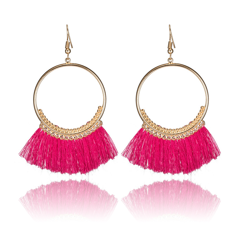 Statement Golden Circle Boho Ethnic Tassel Fringe Women Ladies Hanging Drop Earrings 2017 Fashion Jewelry Accessories