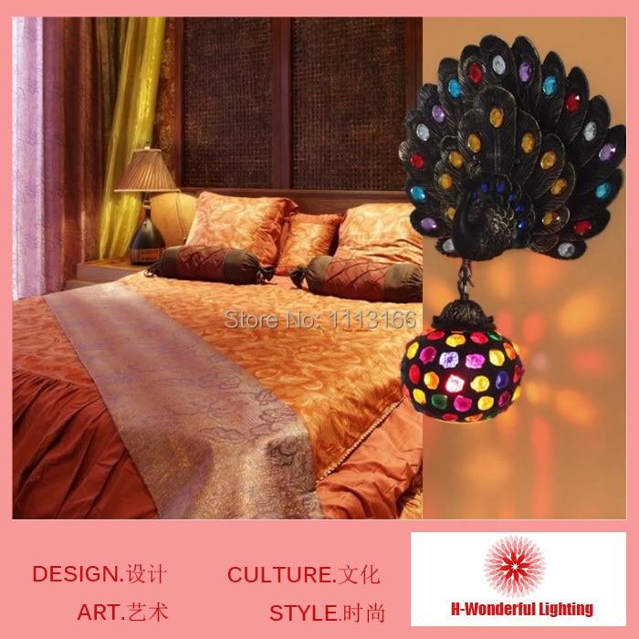 Здесь можно купить   Wholesales Southeast Asia style Resin Peacock Lamp LED bedside wall Lamps Cafe restaurant bar decor Romantic Wall lights Строительство и Недвижимость