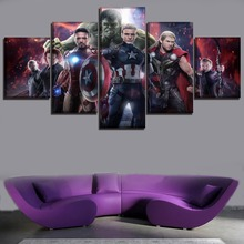 5 Panel Movie Avengers 2 Age of Ultron Poster Home Decor Framework Painting  Modular Picture On Canvas And Prints The Wall