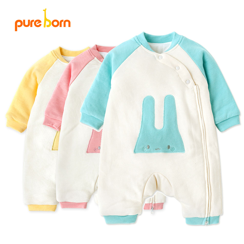 Pureborn Cute Bunny Pattern Baby Romper Newborn Clothes Baby Boy Girl Jumpsuit Infant Cotton Toddler Overall Outfit Winter Warm fashion 2pcs set newborn baby girls jumpsuit toddler girls flower pattern outfit clothes romper bodysuit pants