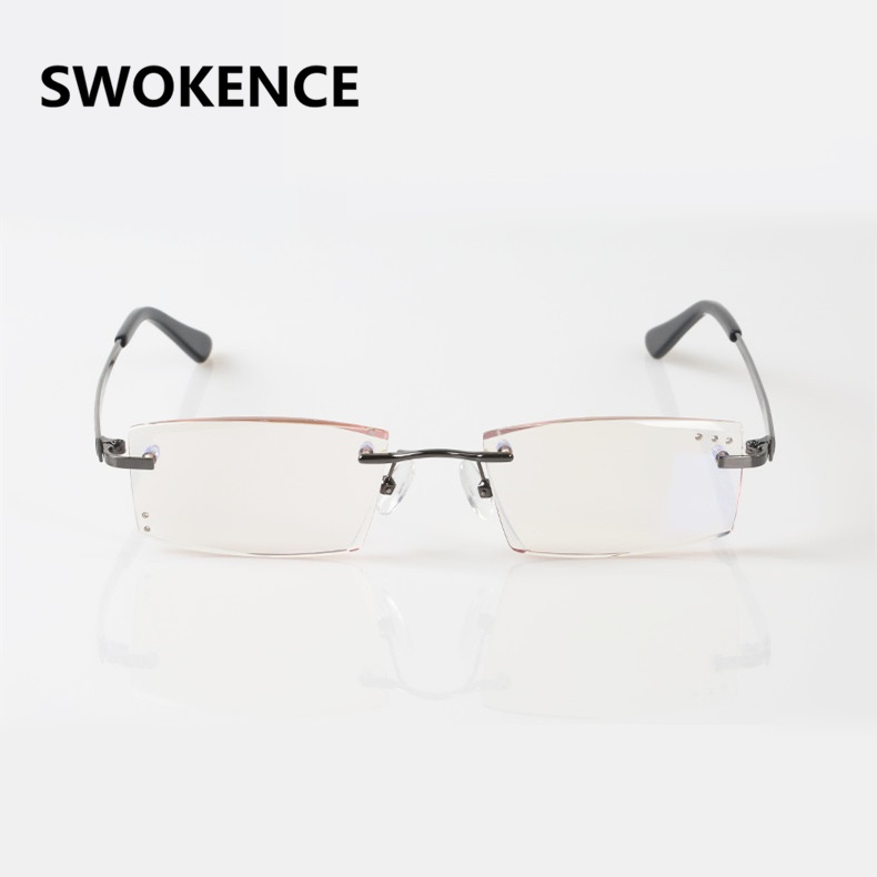 SWOKENCE Upscale Blue Light Proof Reading Glasses Mens Diamond Cutting Rimless Anti-radiation Slim Lens Presbyopic Eyewear R112