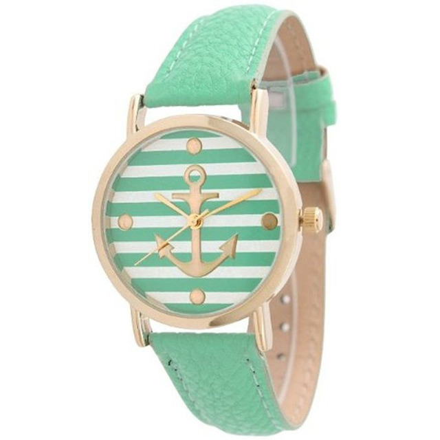 Fashion women watches Ladies Striped Anchor Style Leather Watch Mint green horlo
