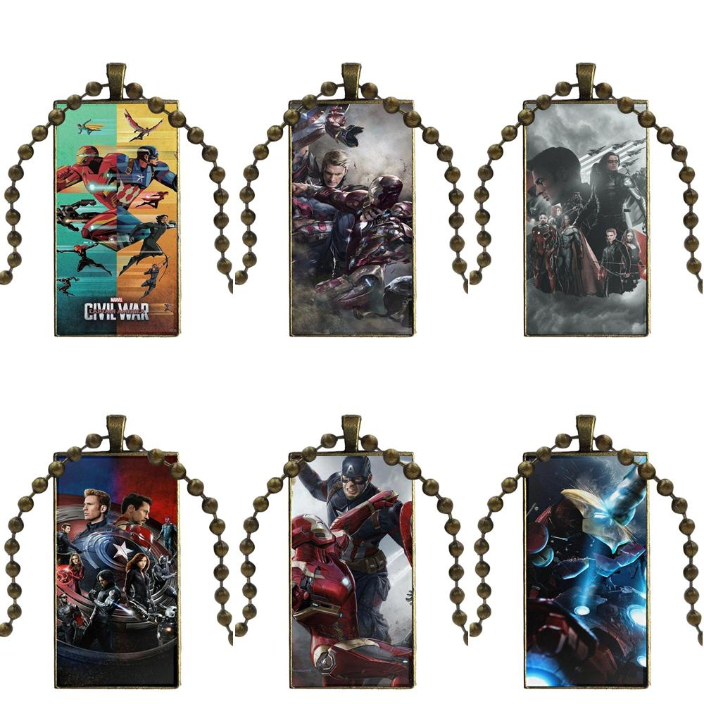 For Women Kids 2016 Captain America Civil War Movie Glass Cabochon Choker Pendant Rectangle Necklace Bronze Color Jewelry image