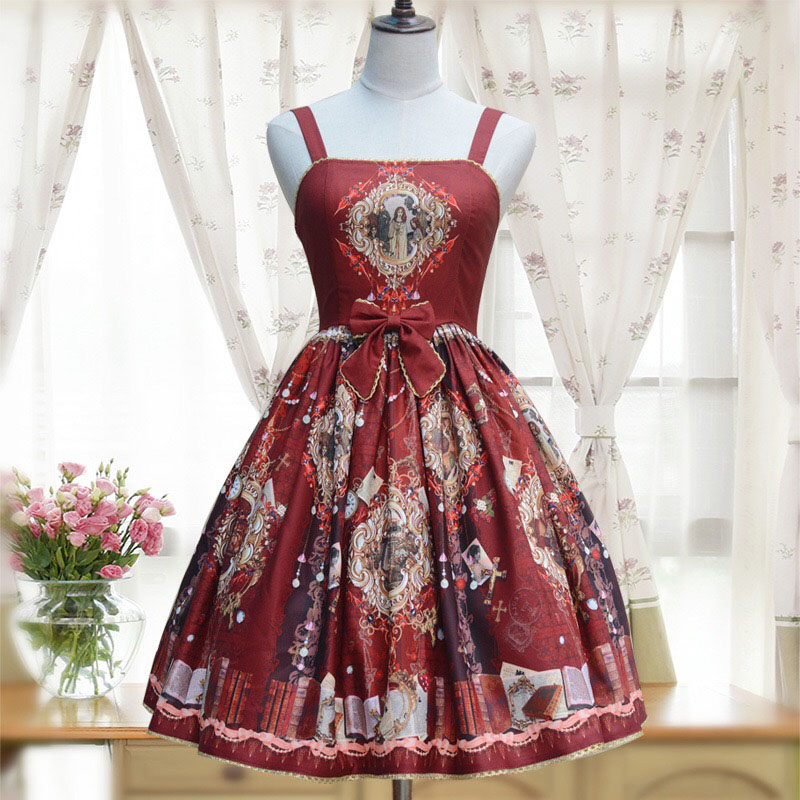 3 Colors Women Vintage Lolita Jumper Dress Lace JSK Wonderland Heaven Garden Print Chiffon Strap Empire Waist Dress For Ladies