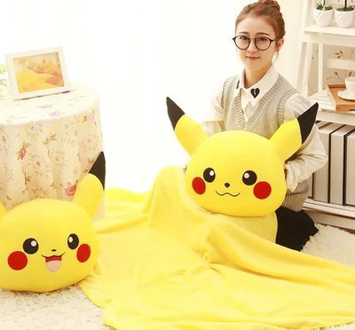 Cartoon Pikachu <font><b>Cushion</b></font> Blanket <font><b>Cushion</b></font> Three In One Purpose Pillow Multi-function Blanket Plush Sofa Bed Home Car Hand Rest
