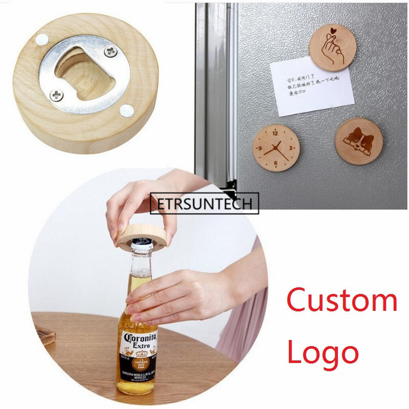 500Pcs/lot DIY Wooden Round Shape Bottle Opener Coaster Fridge Magnet Decoration Beer Bottle Opener Custom Logo