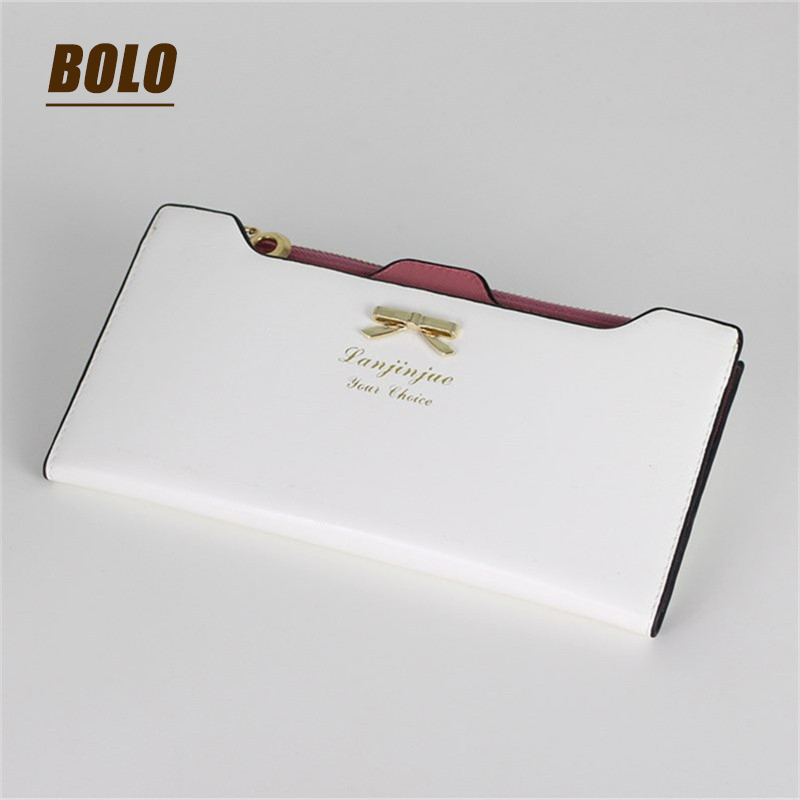 2017 Fashion Women Long Wallets Purse Female Candy Color  PU Leather purse Feminina for Coin Card Clutch Wallet Bow Knot Purse