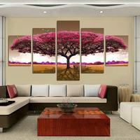 Бесплатный шопинг Розовые Деревья 5 Панелей/Комплект HD Холст Картины Искусства, горячее надувательство modernWall Искусства Picture Gift для Гостиной