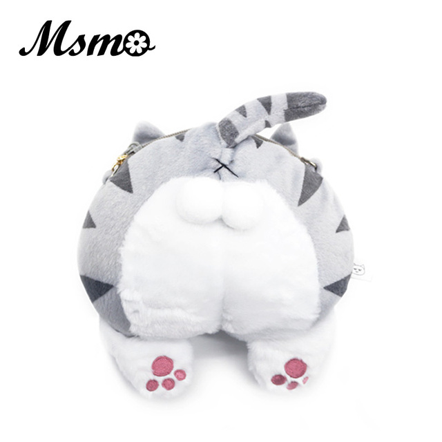 466757918 MSMO Super Cute Cat Butt Fluffy CrossBody Bag Animal Pet Cat Plush  Messenger Bag Kitten Ball Bag Coin Purse