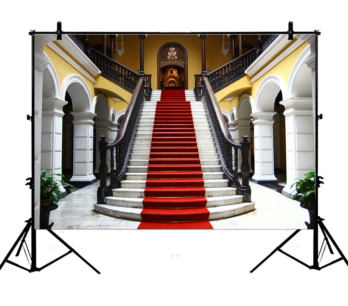 5x7ft Luxury Palace Elegant Stair Red Carpet European Building Polyester Photo Background Portrait Backdrop