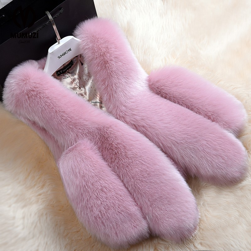 Hot Sale Winter Thick Warm Fur Vests Coat font b Women b font Faux Fox Fur