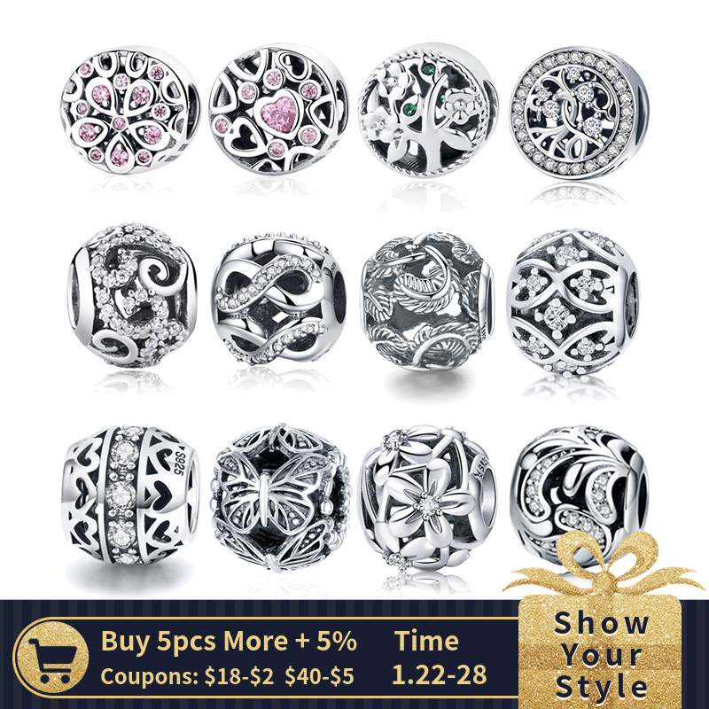WOSTU vendita calda stile 100% 925 Sterling Silver Vintage Openwork Beads Fit originale Wst Charm Bracelet Fashion Jewelry Gift