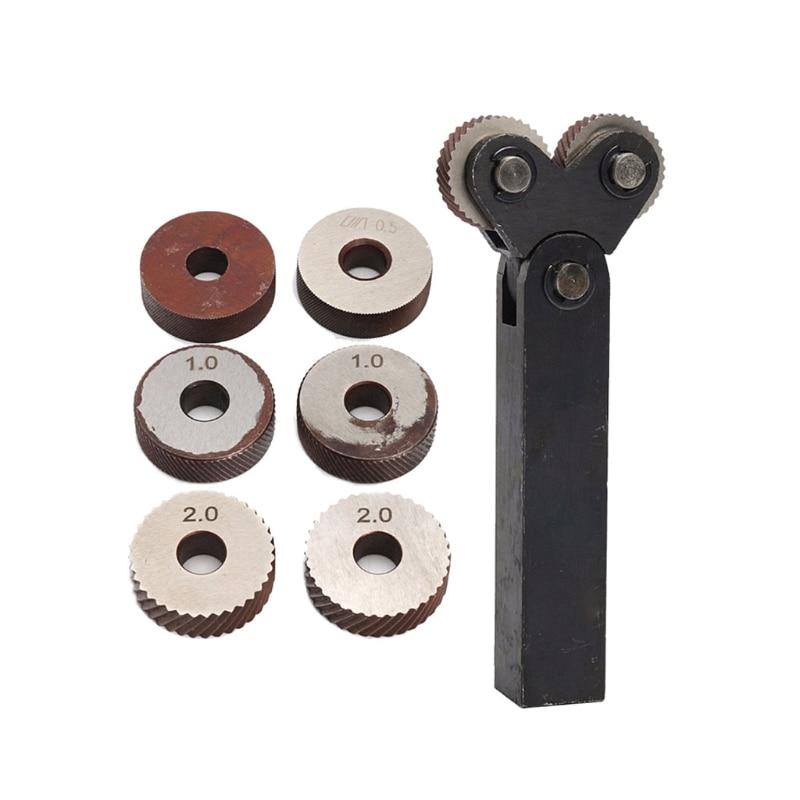 7pcs Knurling Tool 0.5 1 2mm Diagonal Dual Wheel Linear Knurl Set Lathe Machine #Aug.26