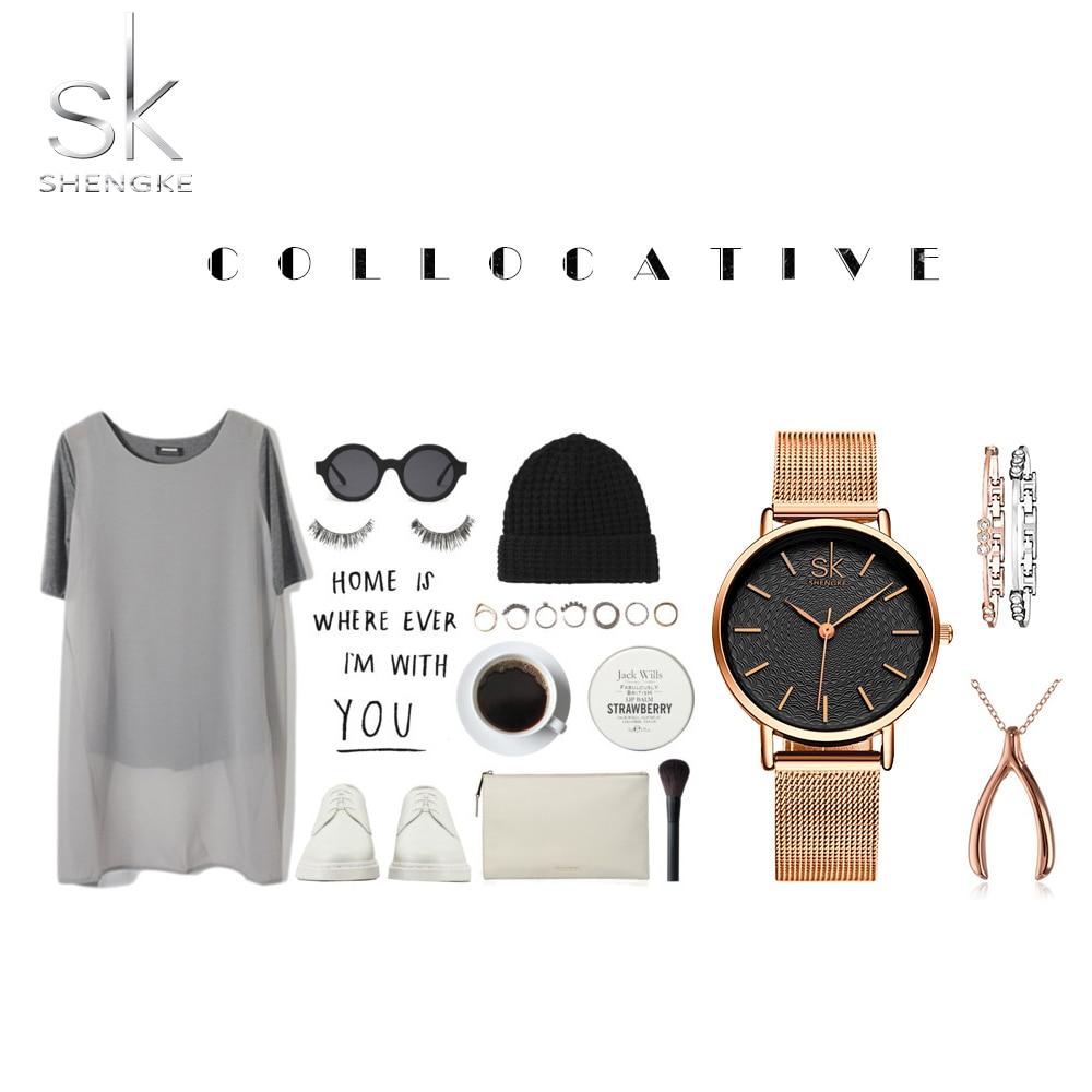 SK Super Slim Silver Mesh Stainless Steel Watches Women Top Brand Luxury Casual Clock Ladies Wrist Watch Lady Relogio Feminino 5