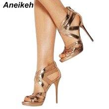 Aneikeh 2018 Summer Sandals Shoes High Heels Woman's Hollow