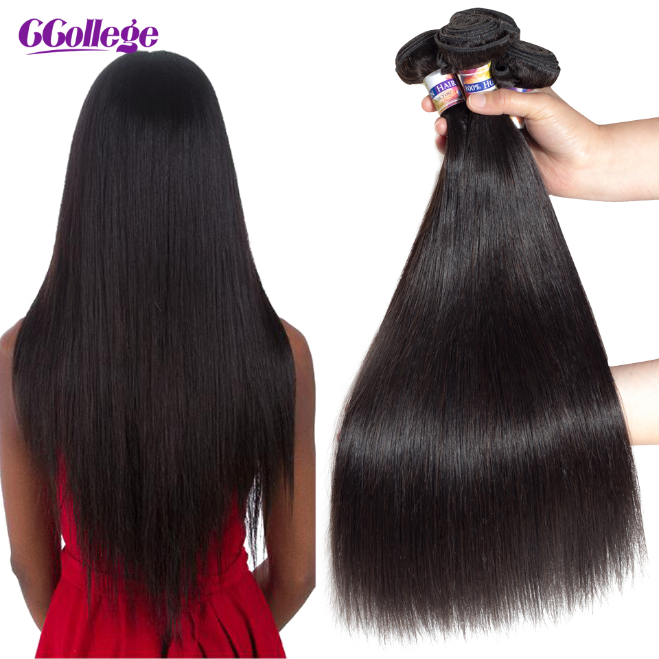 CCollege Malaisiens Cheveux Raides Bundles 8-26 pouces 100% Extensions de Cheveux Humains Naturel Couleur Remy Cheveux Weave Bundles 3 pcs/lot