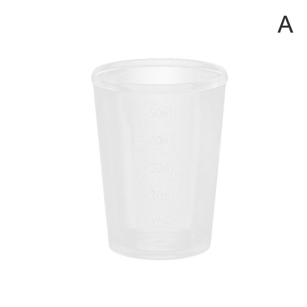 50 шт./компл. ясная устранимая Пластик со шкалой чашка измерения цилиндрические чашки одноразовые Пластик кофе чашки 30 мл 50 мл - Цвет: 50ML
