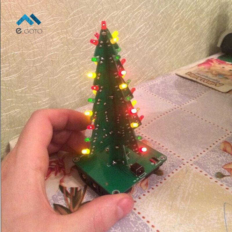 Three Dimensional 3D Christmas Tree LED DIY Kit Red Green Yellow LED Flash Circuit Parts Electronic