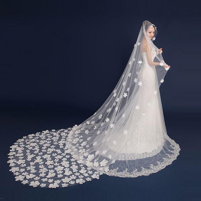 Flower decoration 3 Meter long wedding veil/bridal veil/bridal accessories/head veil/tulle veil