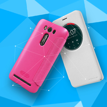 NILLKIN Sparkle flip Leather with view window hard plastic back cover case for Asus Zenfone2 Laser ZE500KL 5 inch free shipping