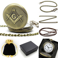 Vintage Bronze Masonic And Freemasonry Pocket Watch Gift Set Luxury Fob Watches For Men Women On