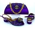 Sapatos e Bolsa de Cor Roxa Sapatos Italianos com Sacos de Harmonização Sapato Africano e Saco de Set para a Festa Em Mulheres Sapatos e Bolsas Para Combinar