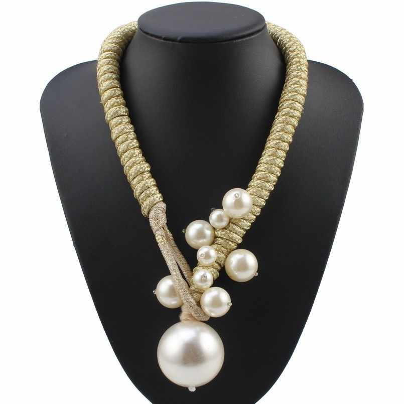 Florosy Handmade Simulated Pearl Big Ball Bead Pendant Necklace for Women Long Rope Braided Fashion New Statement Necklace 2019