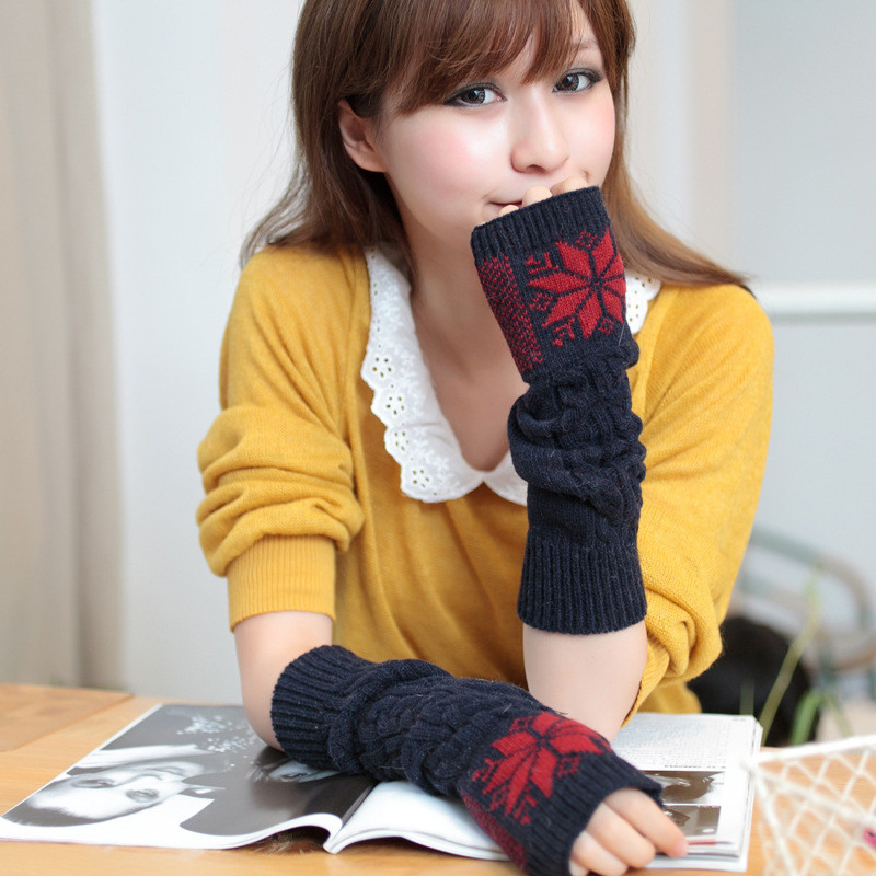 Fashion Women's Snowflakes Wool Blends Knit Gloves Fluffy Wrist Arm Warmer Fingerless Winter Mitten