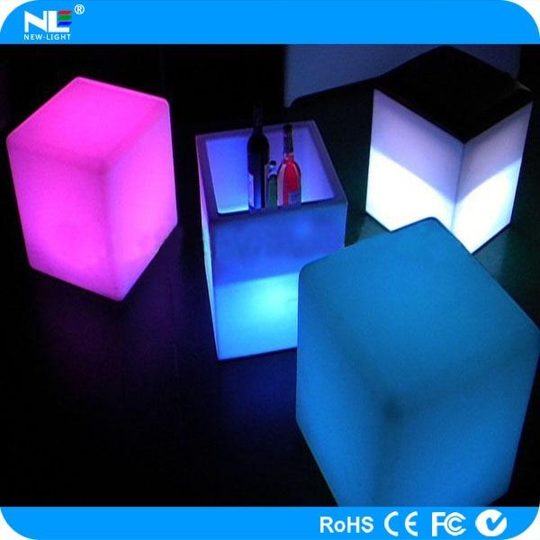 Decorativo exterior LED iluminado cubo asiento iluminación muebles ...