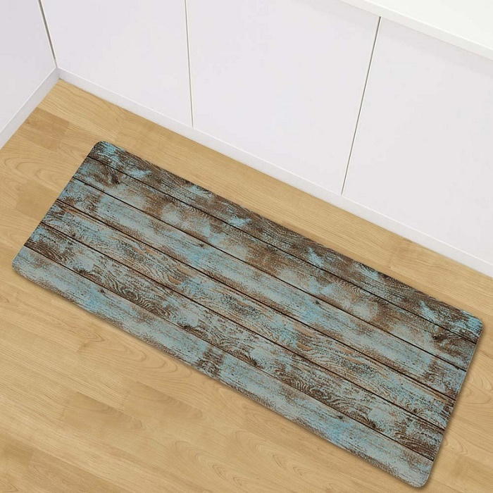 Hot Sale LYN&GY Retro Wood Pattern Kitchen Mat Soft Flannel Antiskid ...