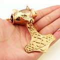 """91g Vintage Yellow Gold Tone Big Pirate Thor's Hammer Wolf Head Pendant Necklace Strong Men's Fashion Jewelry Free Chian 23.6"""""""