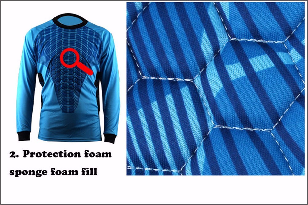 Mens Football Goalkeeper Jersey maillot de foot 2016 2017 Goalie Sponge Protector Suit Camisetas De Futbol Goal Keeper Uniforms 6