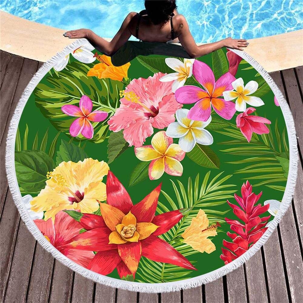 Fleur colorée ronde serviette de plage Flamingo impression été natation microfibre serviette de plage adultes enfants pique-nique couverture