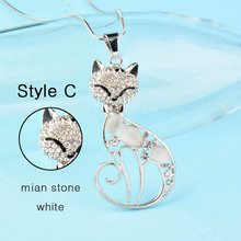 Rhinestone Cat Pendant Long