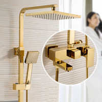 BECOLA Free Shipping Luxurious Shower Set Gold Color Shower Faucet Two Heads Shower Square rain Shower Heads